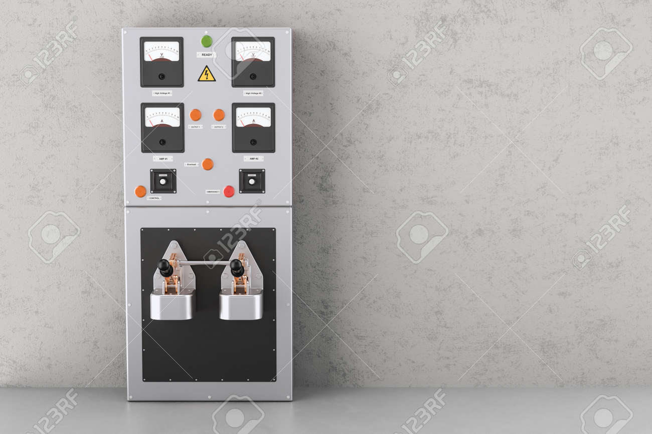 Industrial Electrical Power Panel Box In The Building , 3D Rendering ...