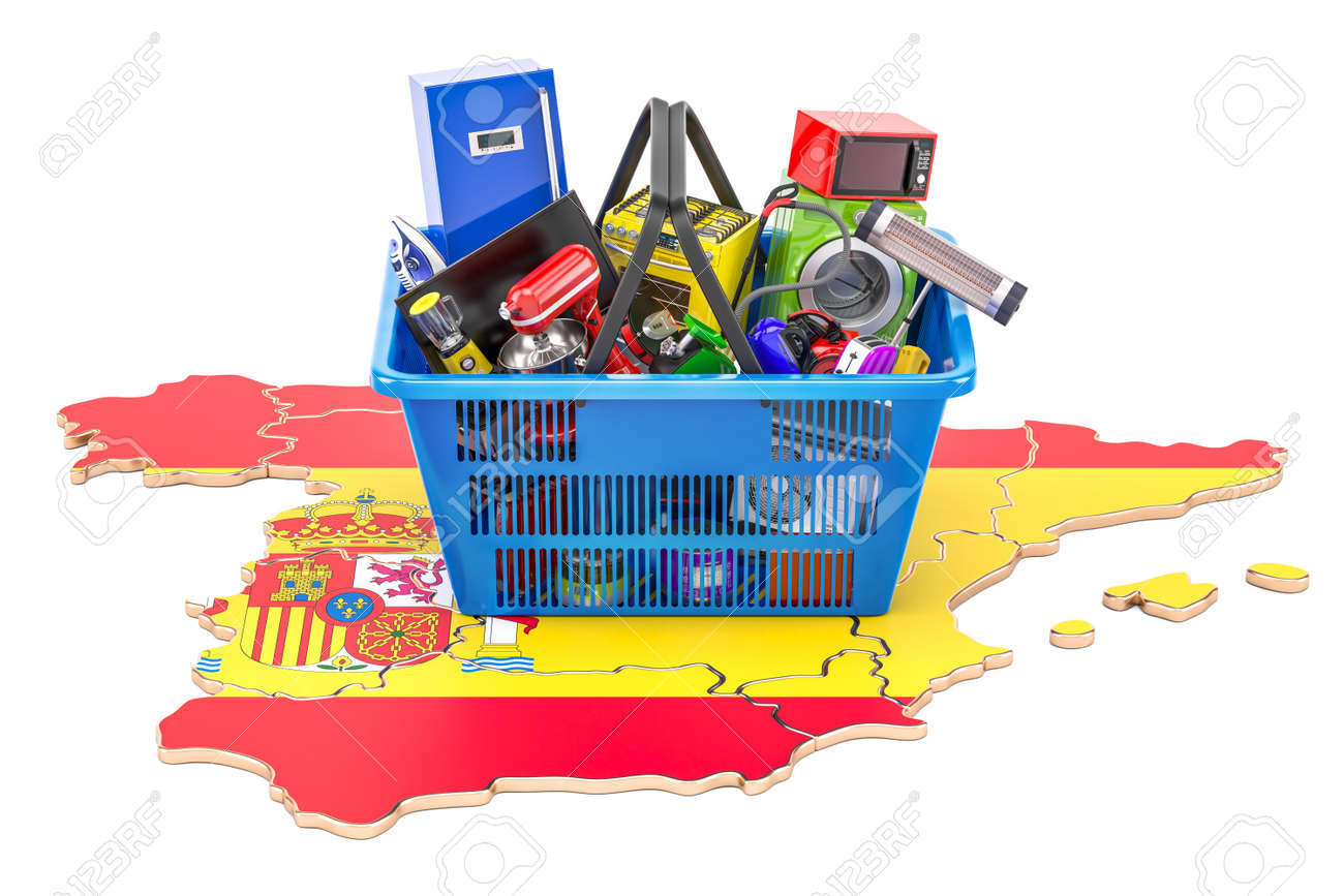 Full Map Of Spain.Map Of Spain With Shopping Basket Full Of Home And Kitchen Appliances