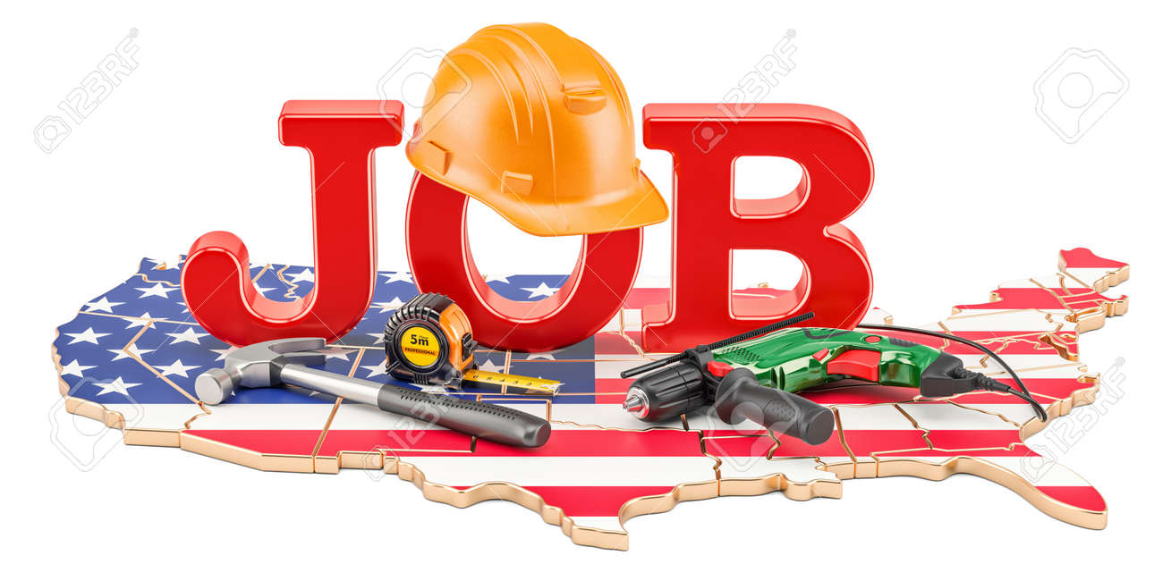 Job Vacancies in the United States concept, 3D rendering isolated