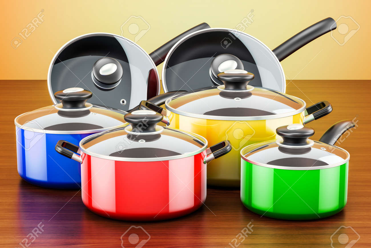 Set of colored cooking kitchen utensils and cookware. Pots and..