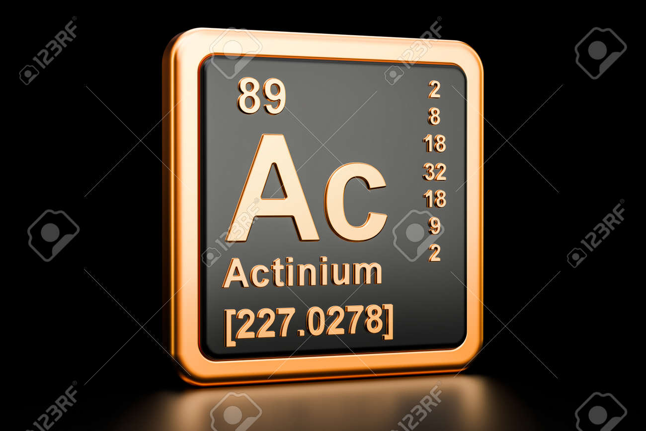 Actinium Ac Chemical Element 3d Rendering Isolated On Black