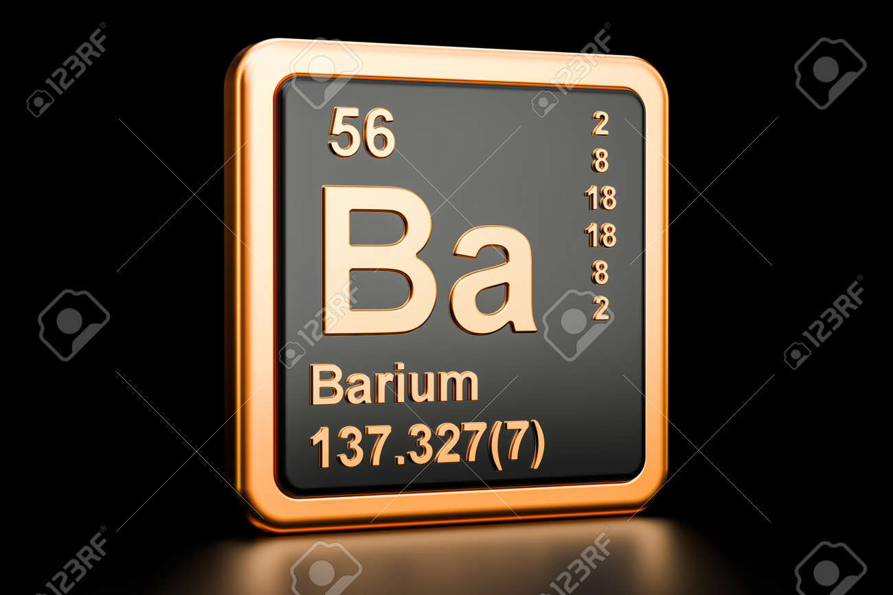 Barium Ba Chemical Element 3d Rendering Isolated On Black