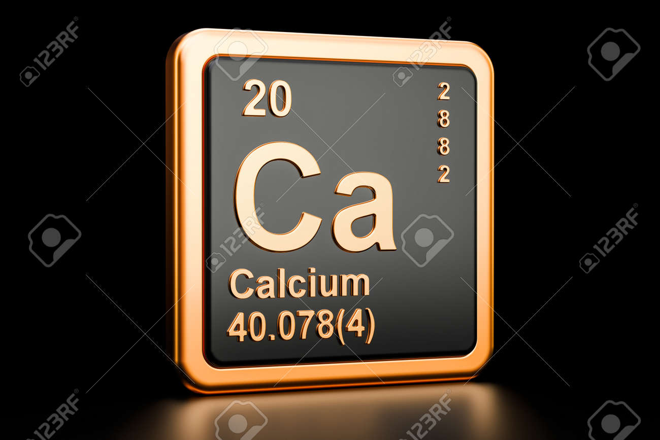 Calcium Ca Chemical Element 3d Rendering Isolated On Black Stock