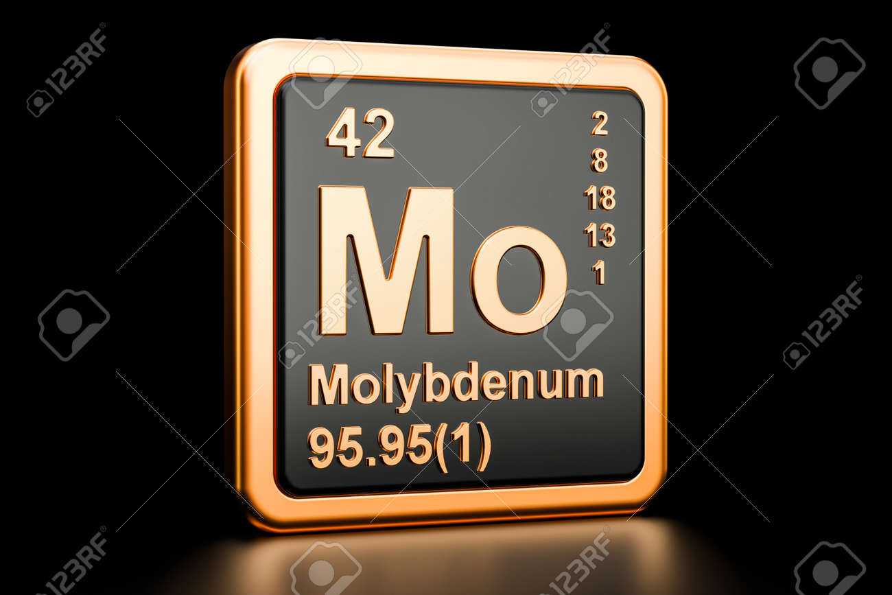 Molybdenum Mo Chemical Element 3d Rendering Isolated On Black