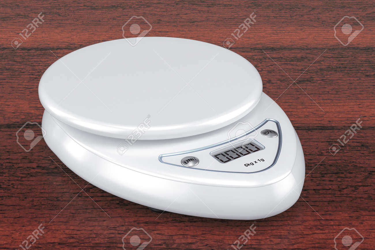 Digital Kitchen Scale On The Wooden Table. 3D Rendering Stock Photo ...