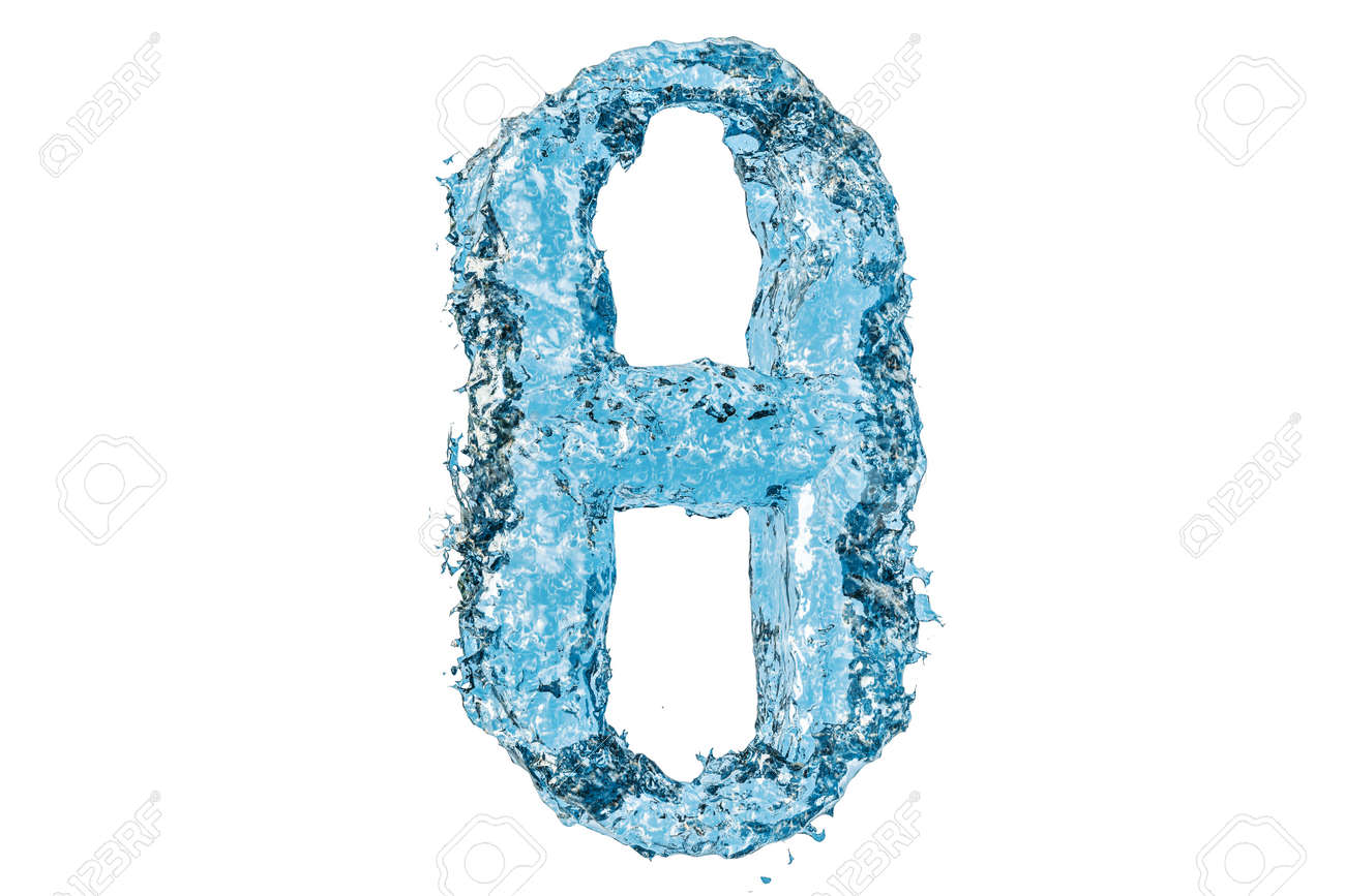 Water Greek Letter Theta 3d Rendering Isolated On White Background