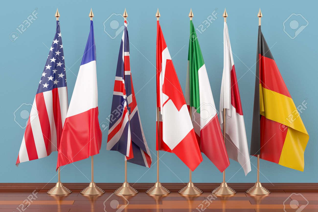 Flags of all members G7, 3D rendering - 98991252