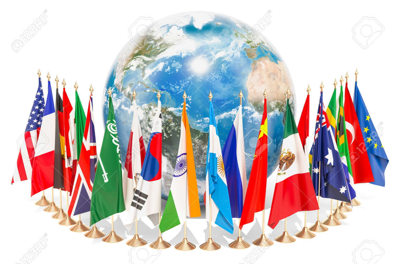 International global communication concept with flags around the Earth Globe, 3D rendering isolated on white background - 99300099