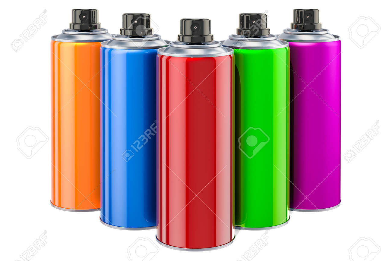 Spray paint cans closeup  3D rendering isolated on white background