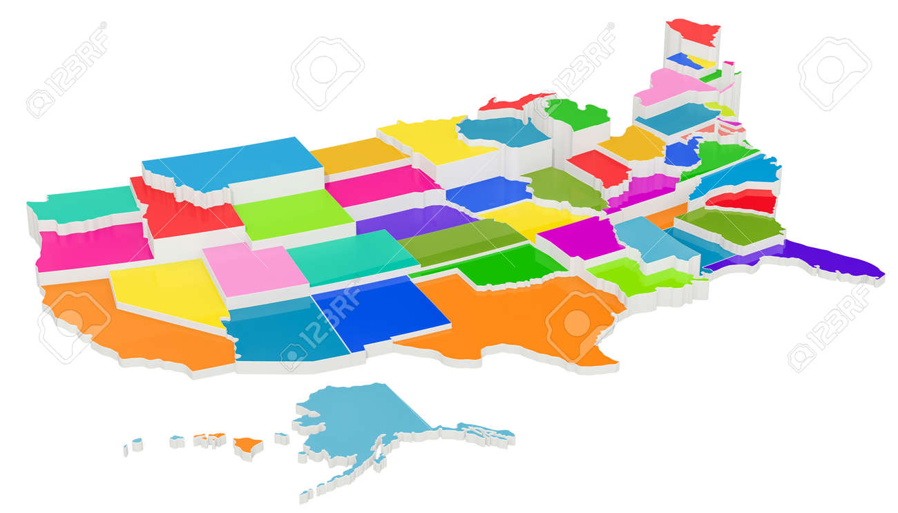 United State Of America Map.Colored United States Of America Map With State Borders 3d Rendering