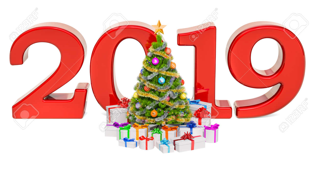 Merry Christmas And Happy New Year.Happy New Year And Merry Christmas 2019 Concept With Christmas