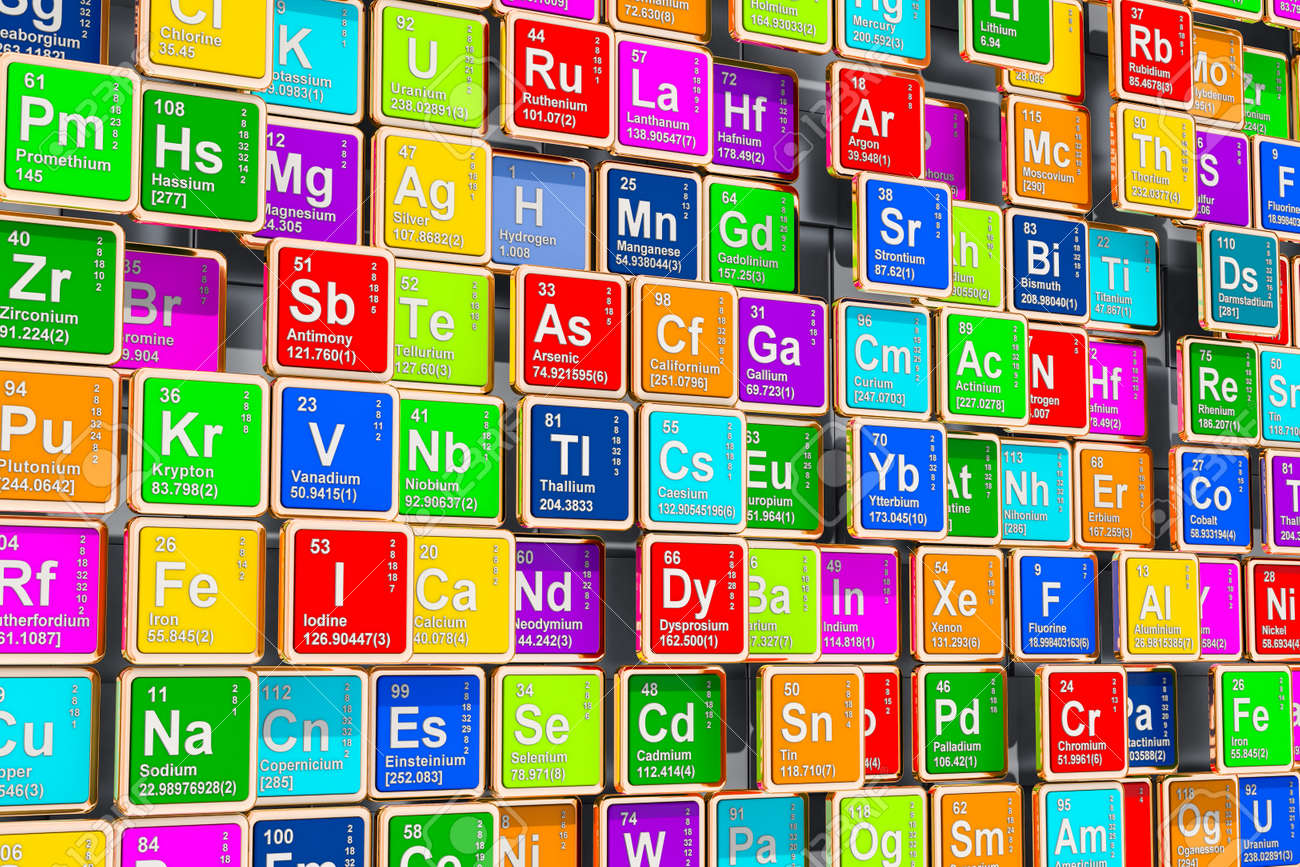 Colored Periodic Table Of The Elements 3d Rendering