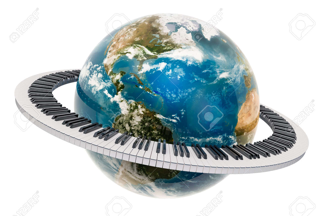Earth Globe with piano keyboard around, music concept  3D rendering