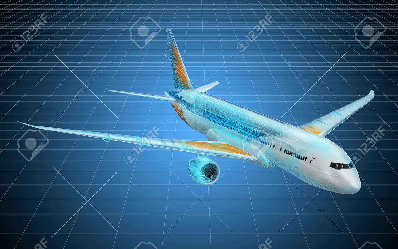 Visualization 3d cad model of airplane, blueprint  3D rendering