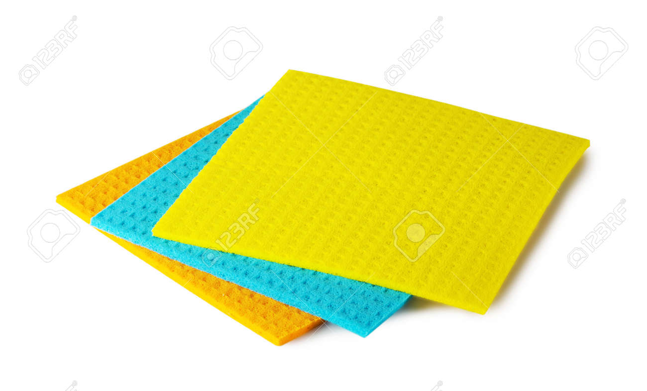Colorful Kitchen Rags Isolated On White Background