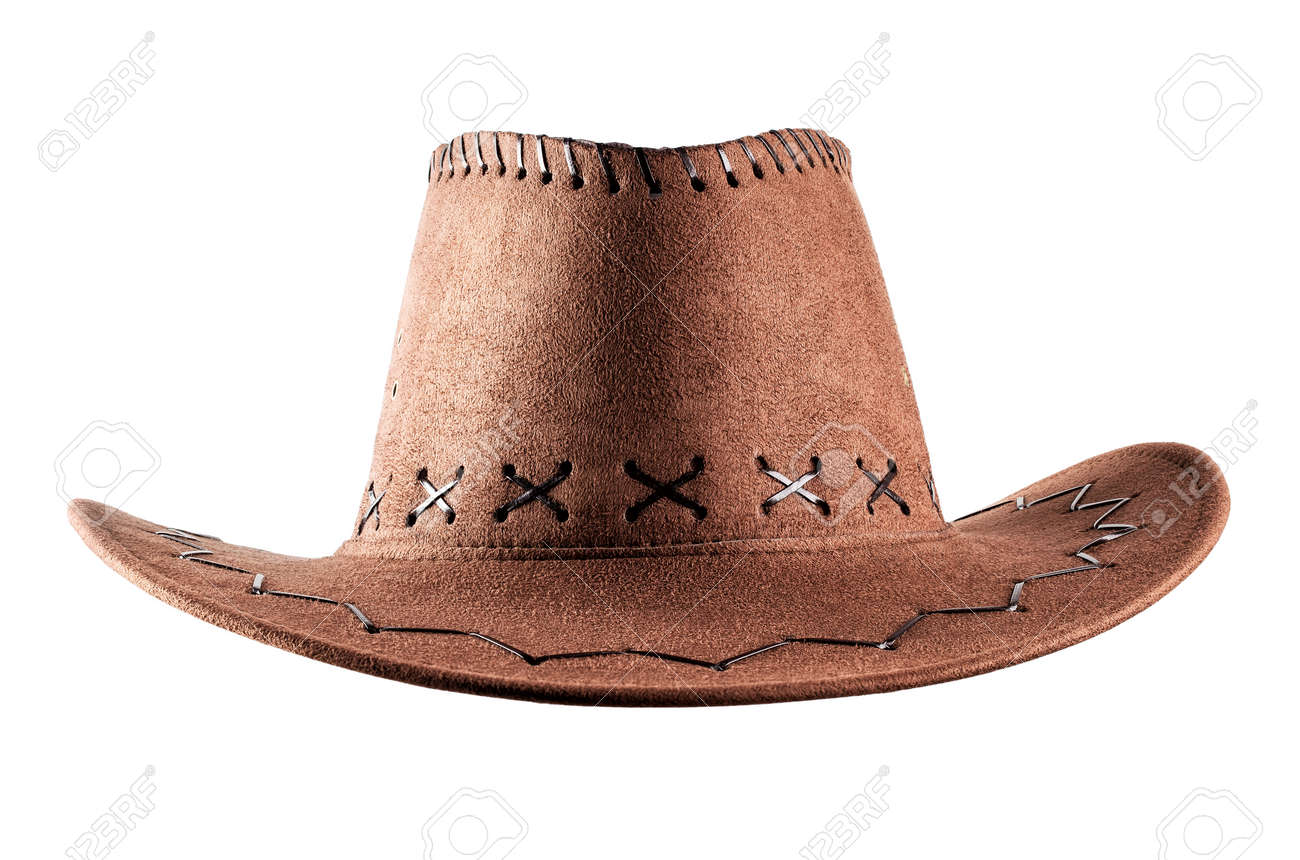 36b38834fc1fd Leather cowboy hat isolated on white background Stock Photo - 51977817