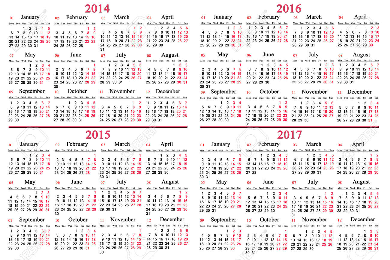 Usual Office Calendar For 2014 - 2017 Years Stock Photo, Picture ...