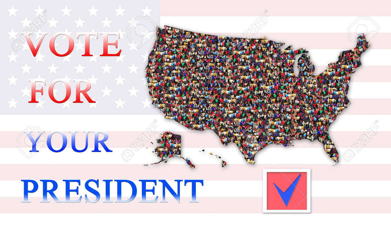 appeal to vote on presidential election with map of usa and flag stock po 64385024