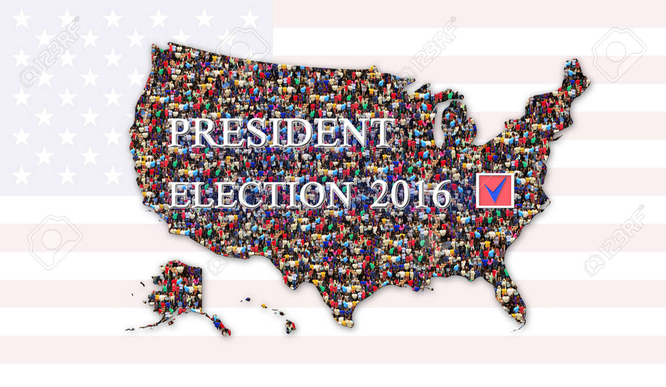 Message About Presidential Election 2016 With Map Of Usa And Stock