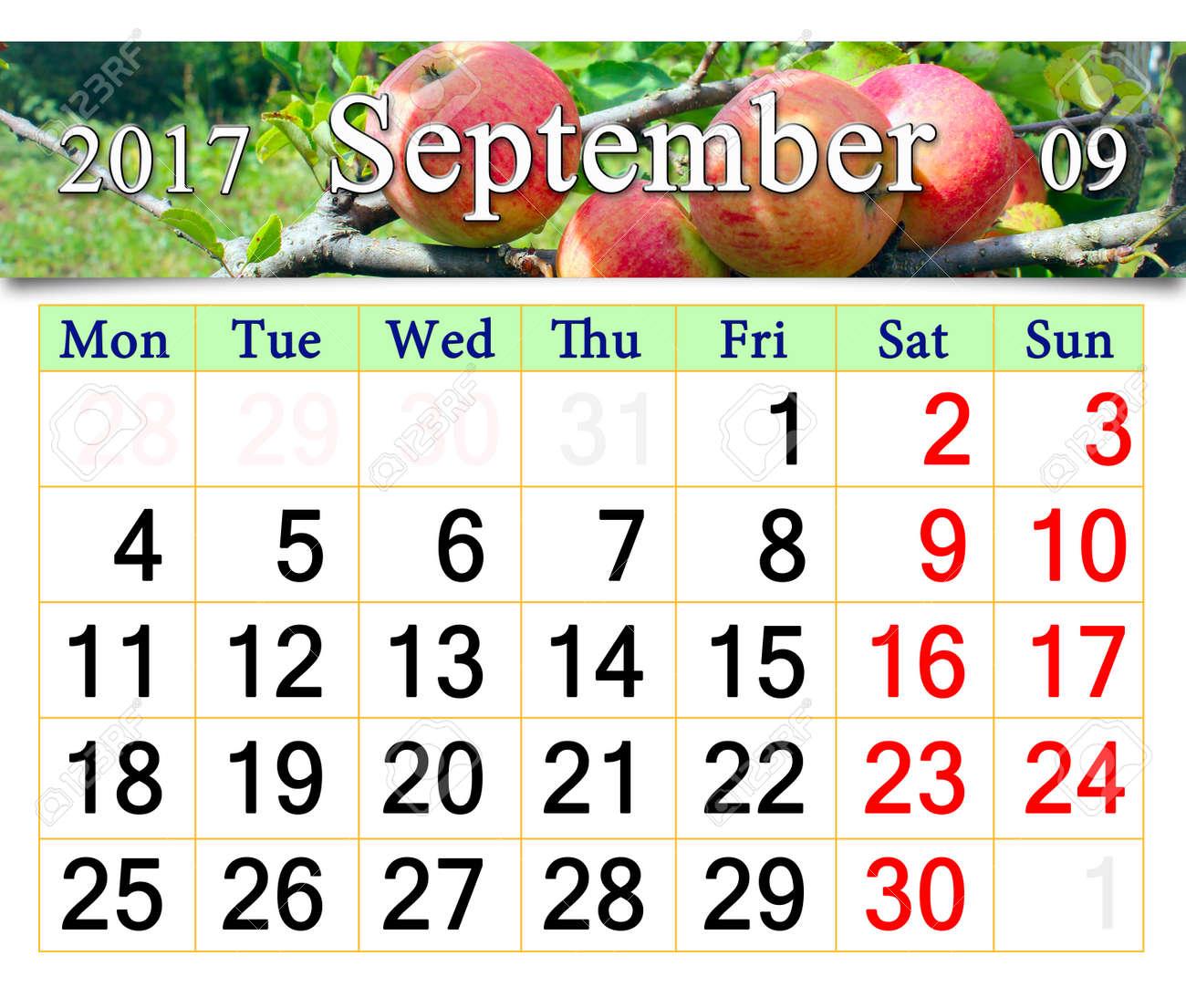 Calendario Mature.Bel Calendario Per Settembre 2017 Anno Con Mele Mature Sul Ramo Calendario Per La Stampa E L Utilizzo In Ufficio