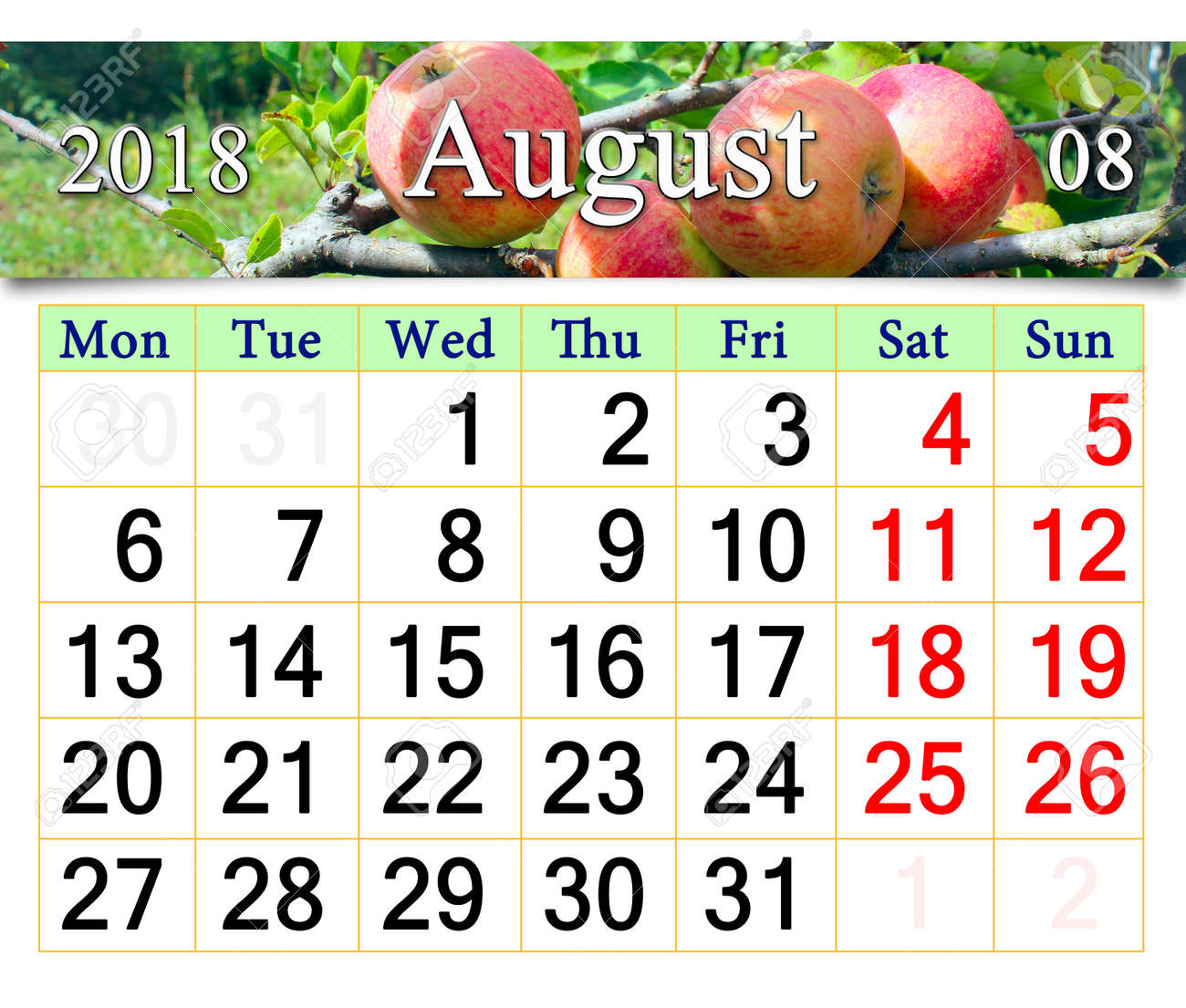 Usi Calendar.Beautiful Calendar For August 2018 Year With Ripe Apples On The