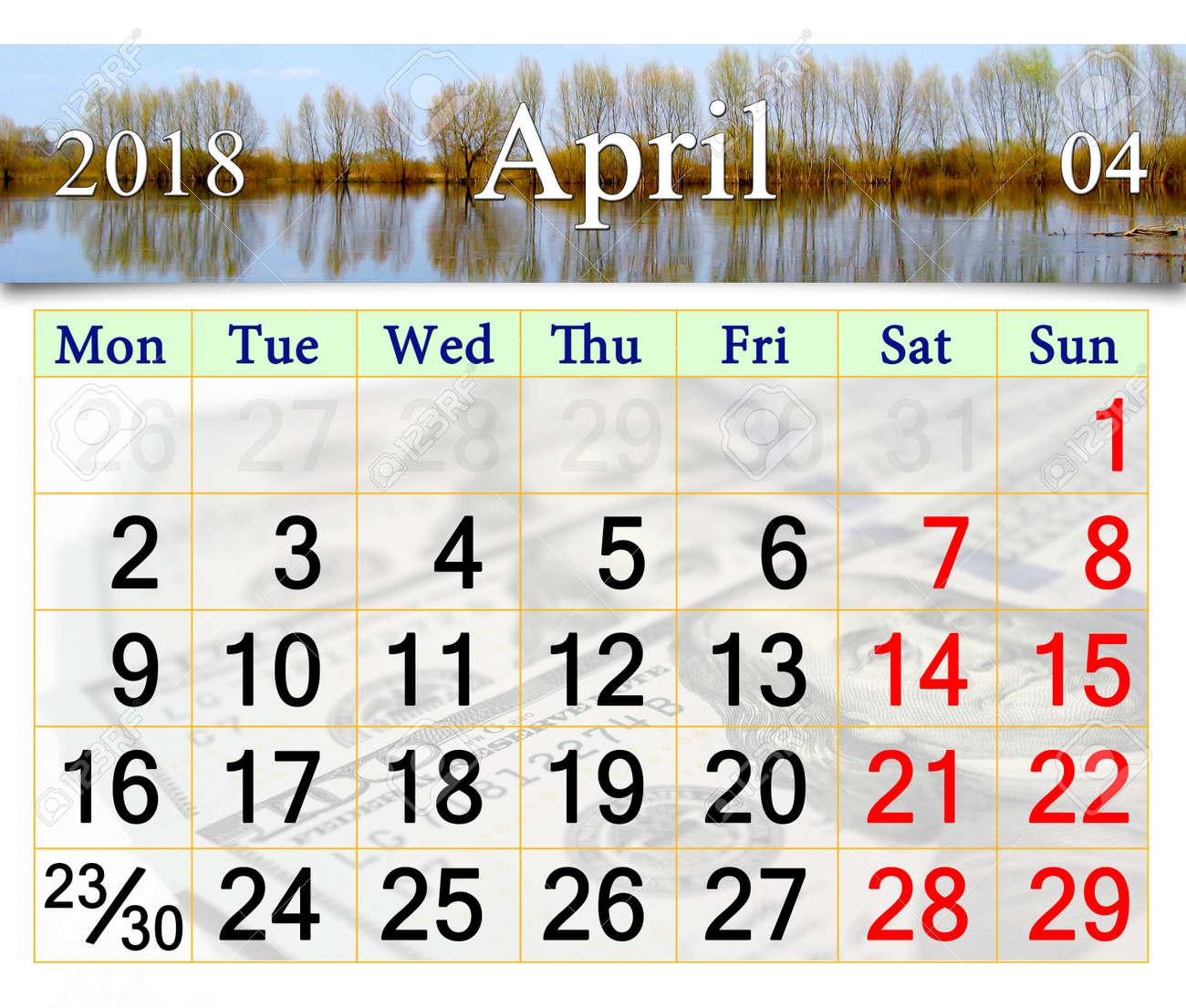 6e9f14edf7e7 beautiful calendar for April 2018 on the background of spring flood Stock  Photo - 89045012