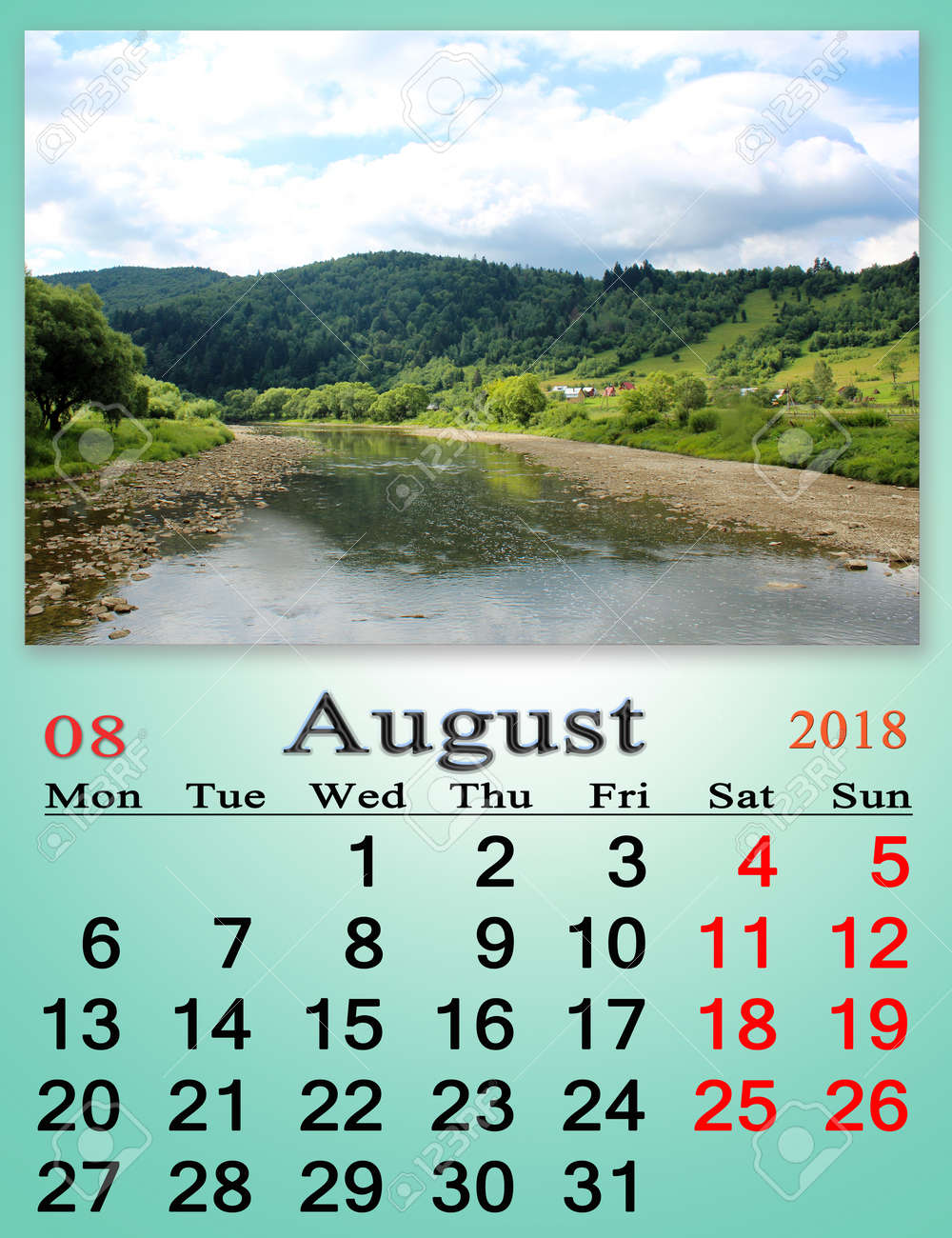 calendar for august 2018 with image of summer landscape with mountain river stock photo 89757573