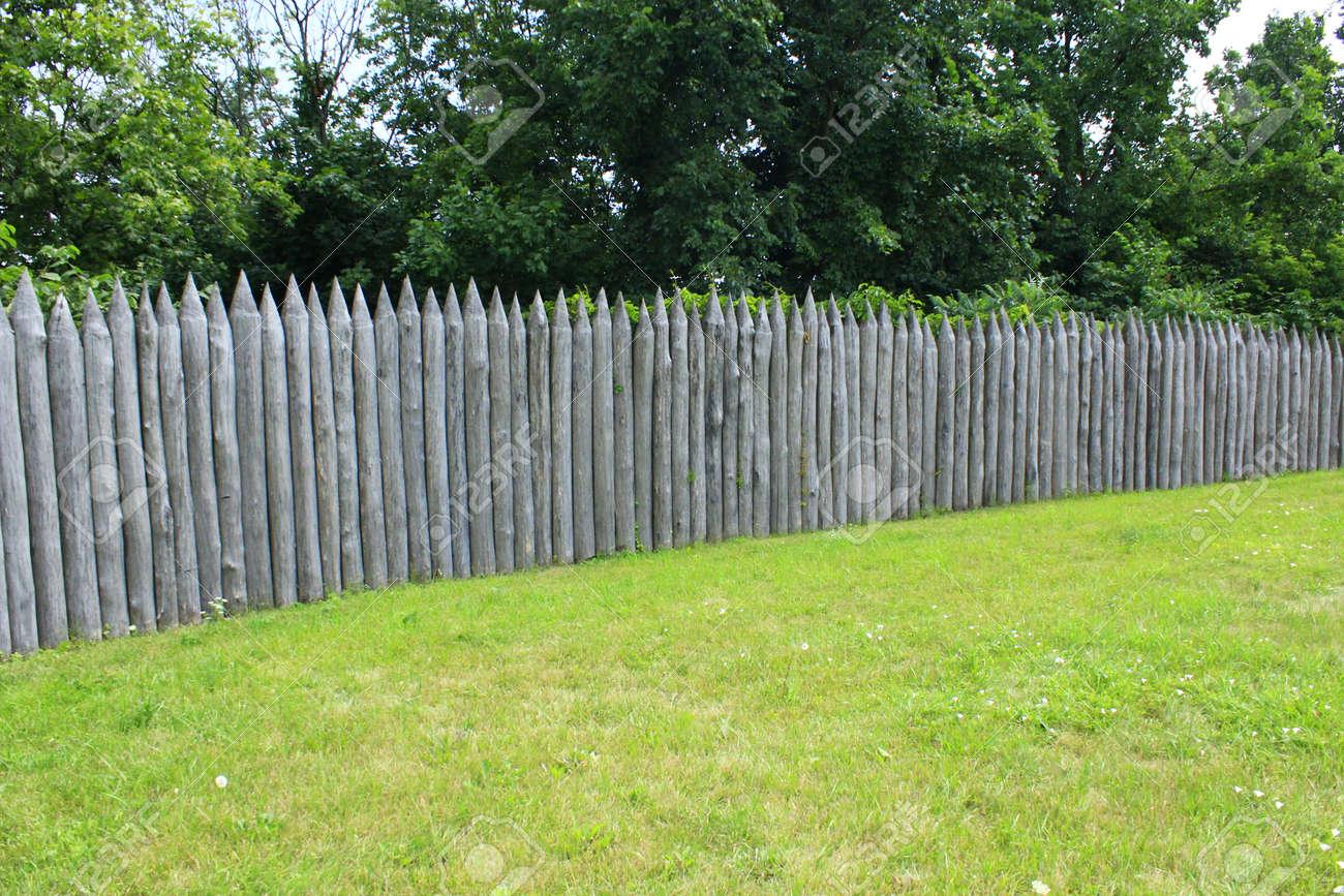 Historischer Schutz Zaun Aus Holzstammen Auf Dem Grunen Rasen