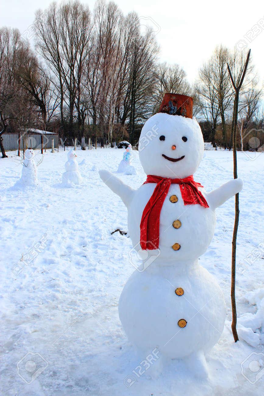Schneemann Fröhlich Im Schnee . Neues Leben . Weihnachten Schneemann ...