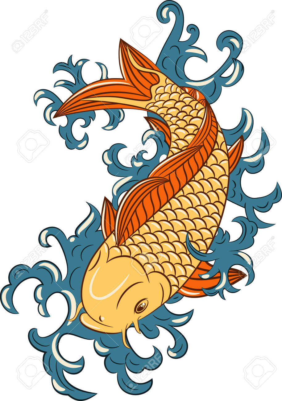 Japanese Style Koi (carp Fish), Hand Drawn Royalty Free Cliparts ...