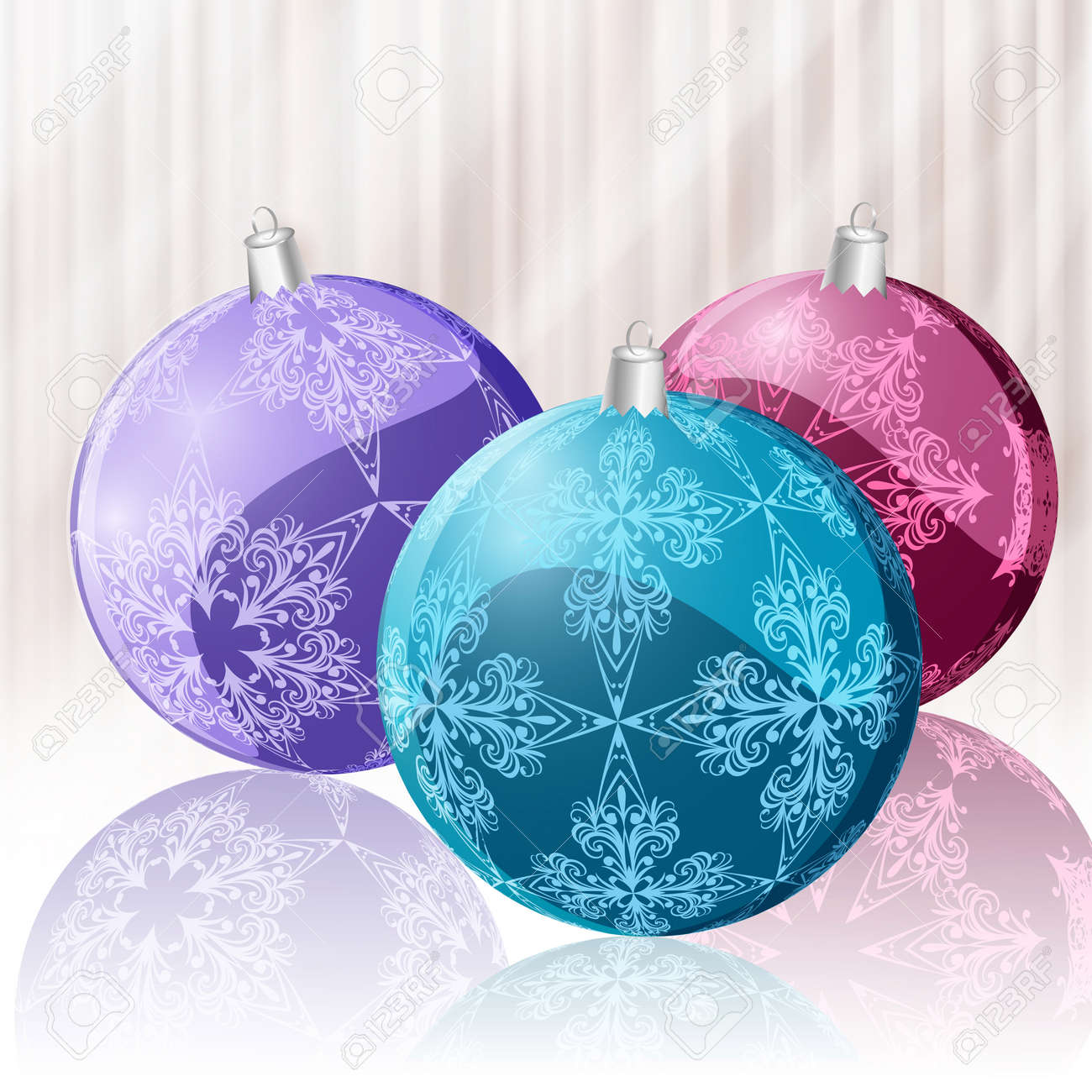 glittering christmas balls with snowflakes and their reflection Stock Vector - 11219968