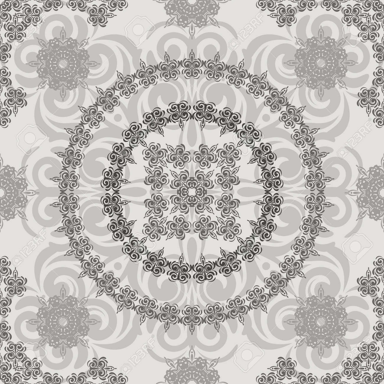 vector seamless vintage floral retro pattern, elements can be used separately, clipping masks Stock Vector - 11219977