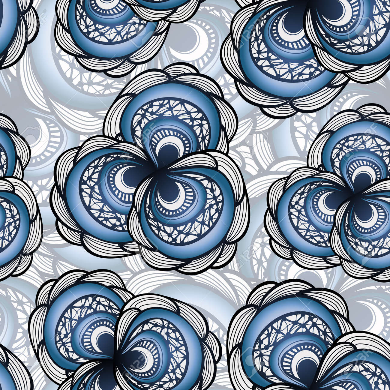 vector seamless pattern with abstract flowers in blue Stock Vector - 11557928