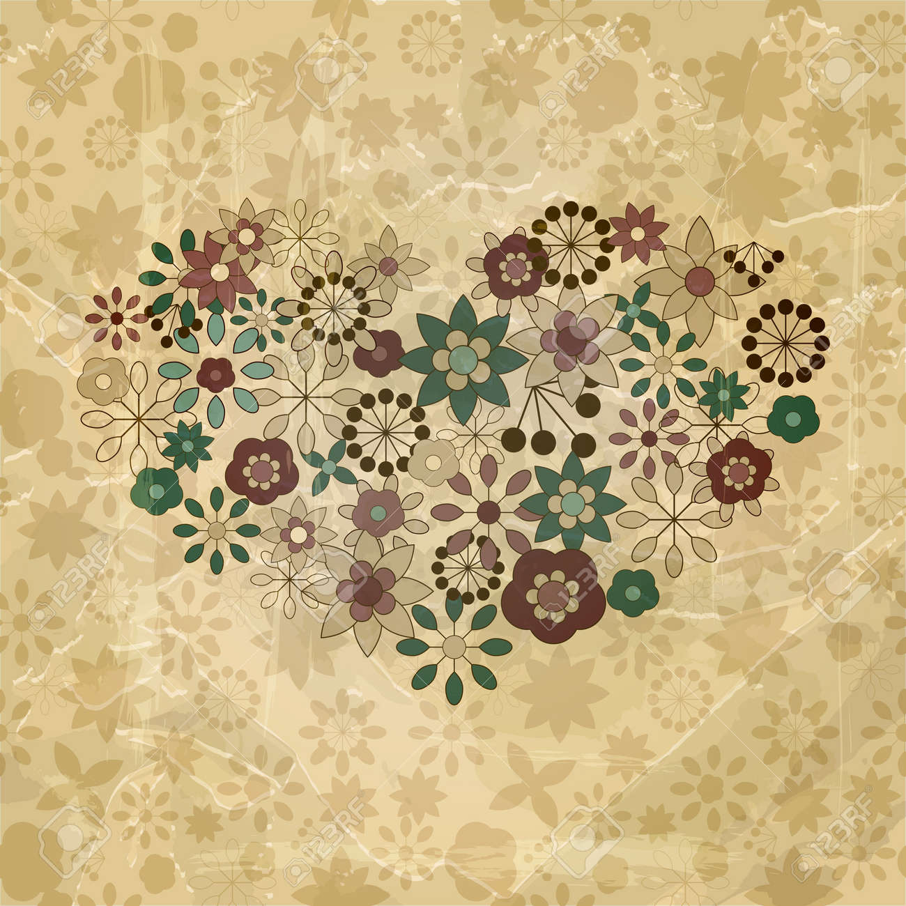 vector spring  flowers organized in heart shapes, old paper texture Stock Vector - 12817009