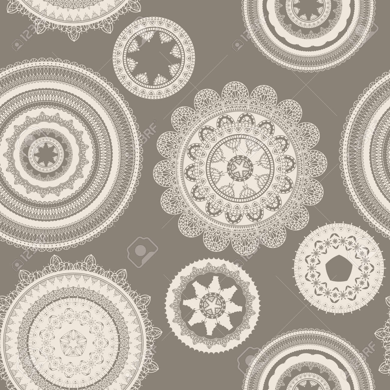 vector seamless pattern with lacy napkins, can be used separately Stock Vector - 12817036