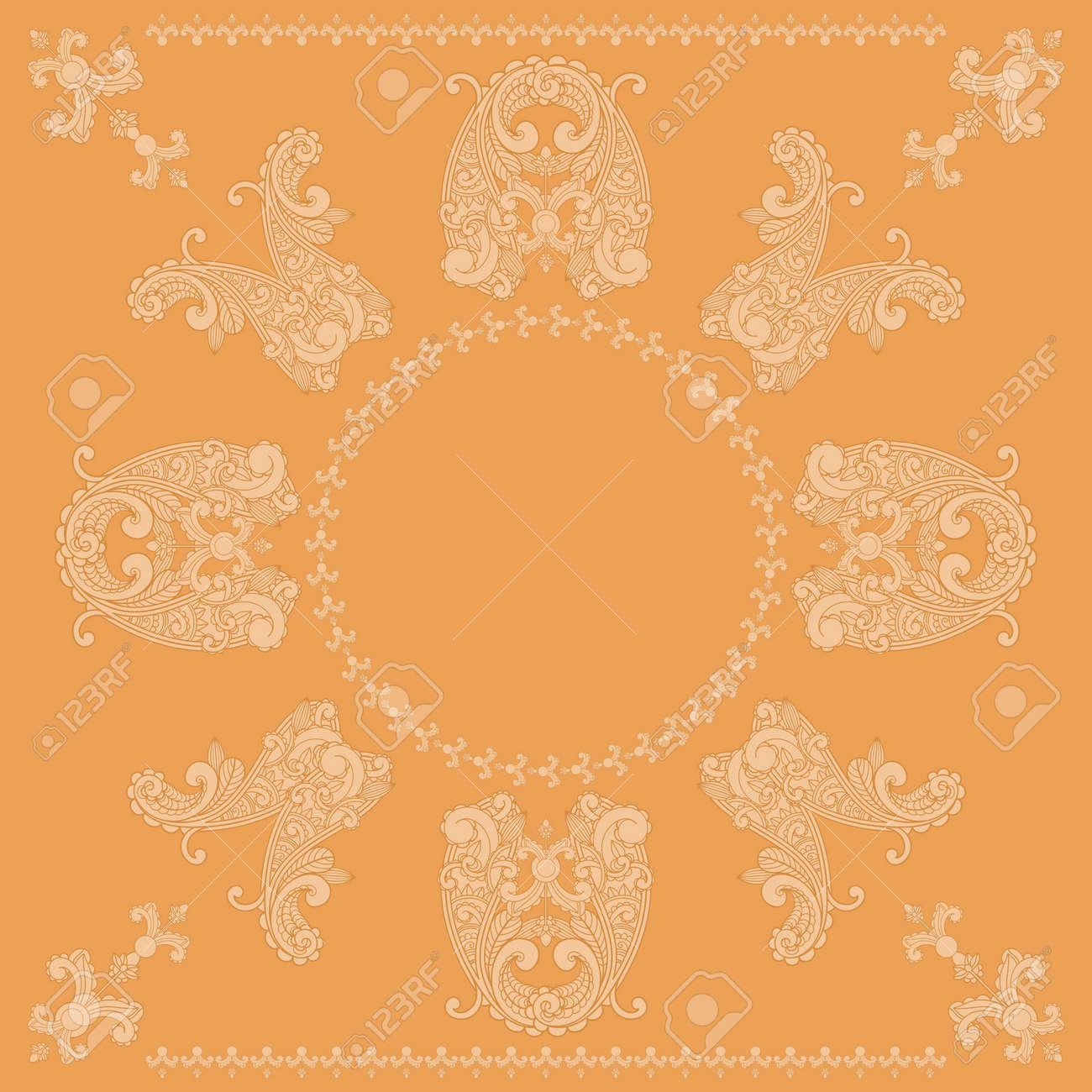 vector paisley square pattern in orange Stock Vector - 13166755