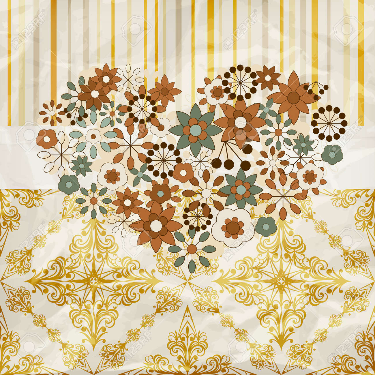 vector vintage pattern with floral heart,  crumpled paper texture, patterns can be used separately Stock Vector - 13232280