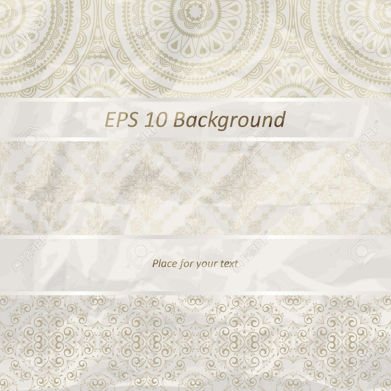 vector seamless floral borders on  crumpled golden foil  paper texture Stock Vector - 13330109