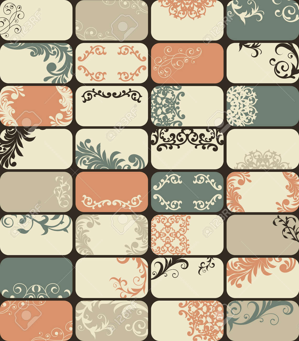 32 Retro Style Business Cards With Unique Floral Patterns Royalty ...