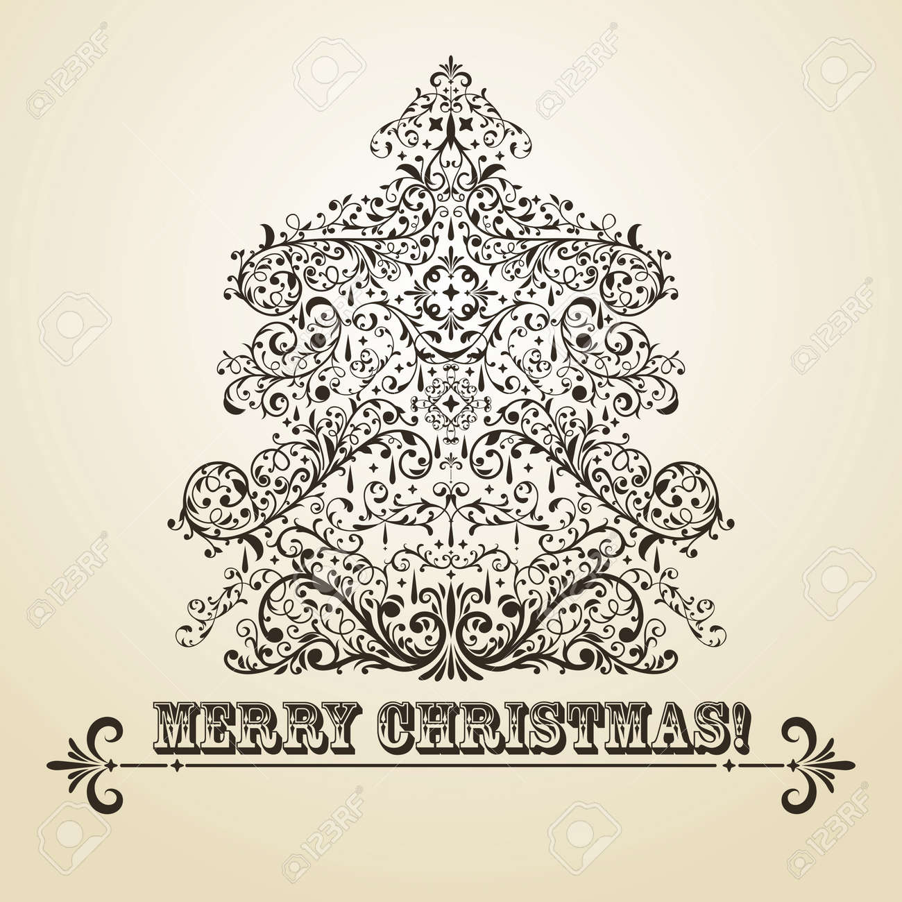 vintage Christmas greeting card with highly detailed fir tree on gradient background Stock Vector - 16520047