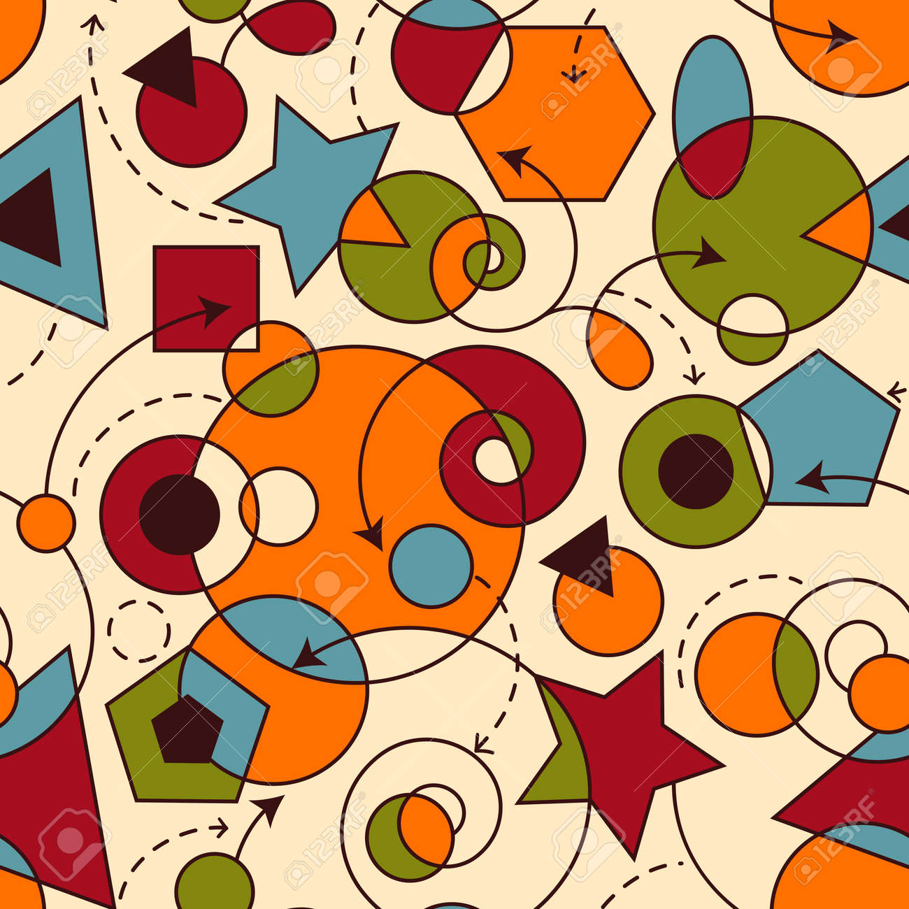 vector abstract seamless composition with geometric figures, seamless pattern in swatch menu Stock Vector - 17955668
