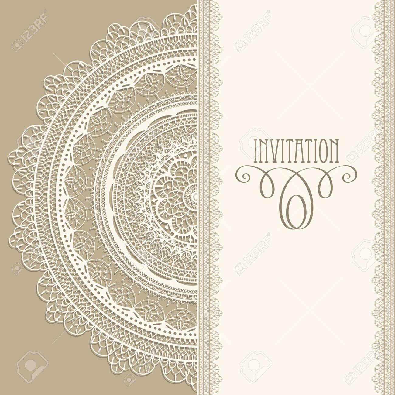 Invitación Vector Vendimia Con La Servilleta De Encaje Blanco ...