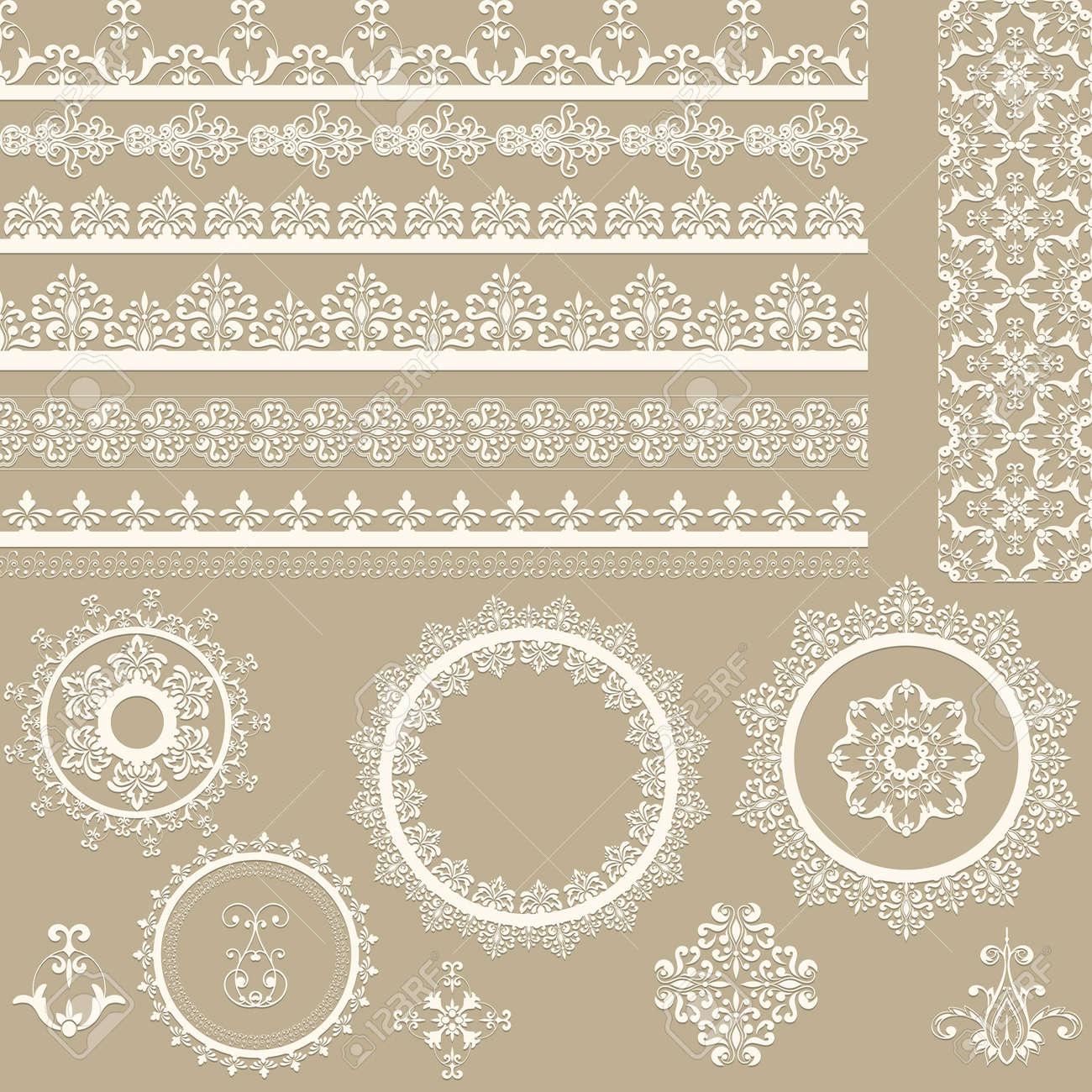 Vector Cintas De Encaje Vintage, Servilletas, Y Elementos De Diseño ...