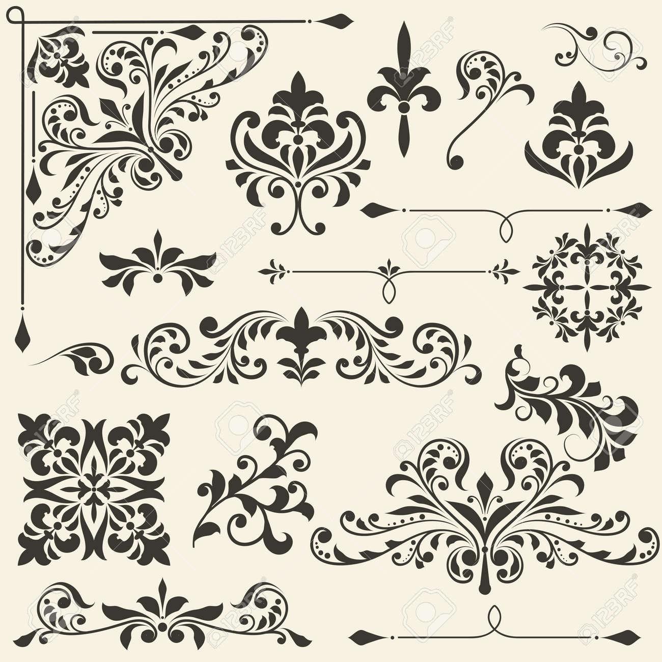 vintage floral  design elements on gradient background, fully editable file Stock Vector - 18754633