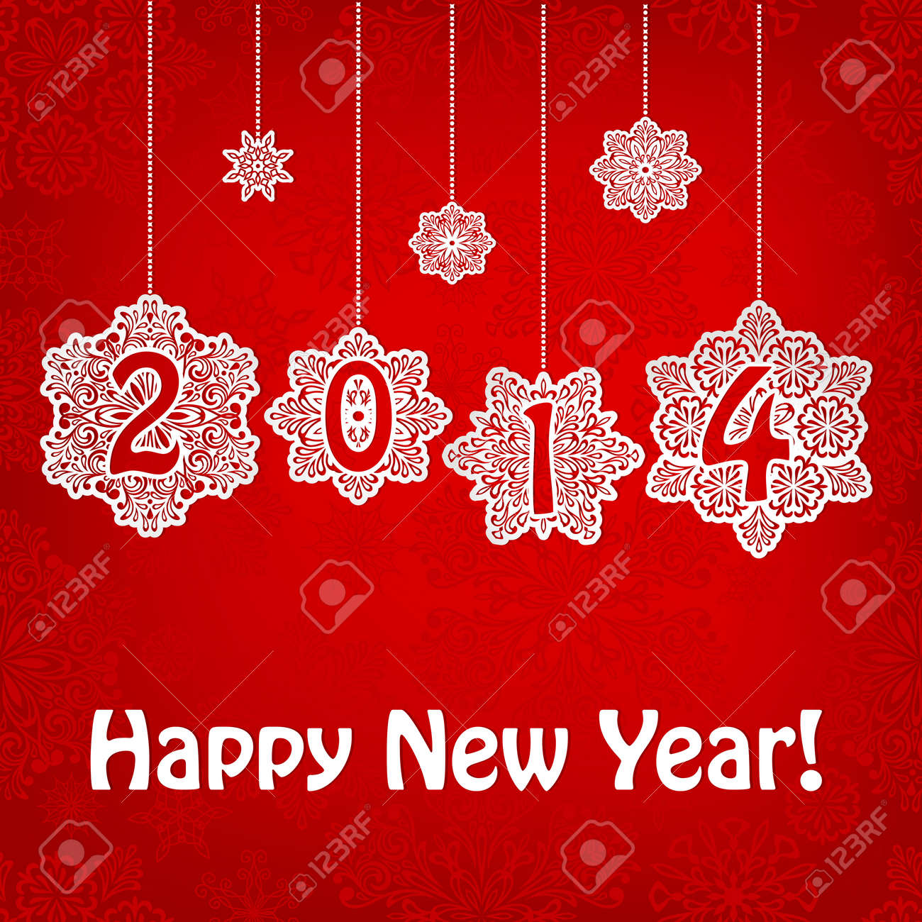 2014 New Year Greeting Card With Hanging Snowflakes And Greetings