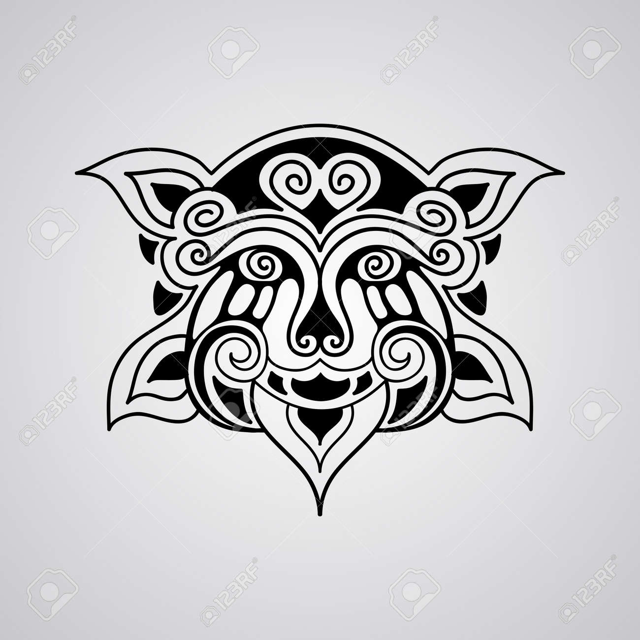 Vector Lion Face Tattoo Sketch Polynesian Tattoo Style