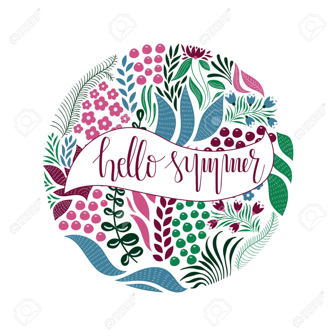 Vector Circle Pattern with Flowers, Berries, and Leaves. Hand Lettering Text. Hello Spring. Spring Greeting Card Design - 136245745