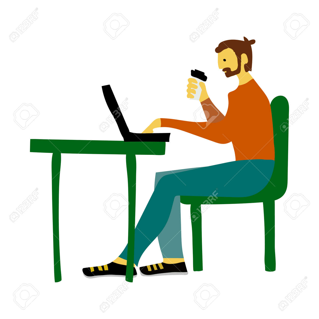 Businessman in office vector sketch for newspaper illustration website banner - 110504131