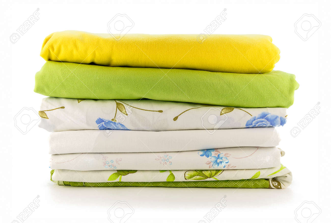 Stack of linen on a white background - 40047577
