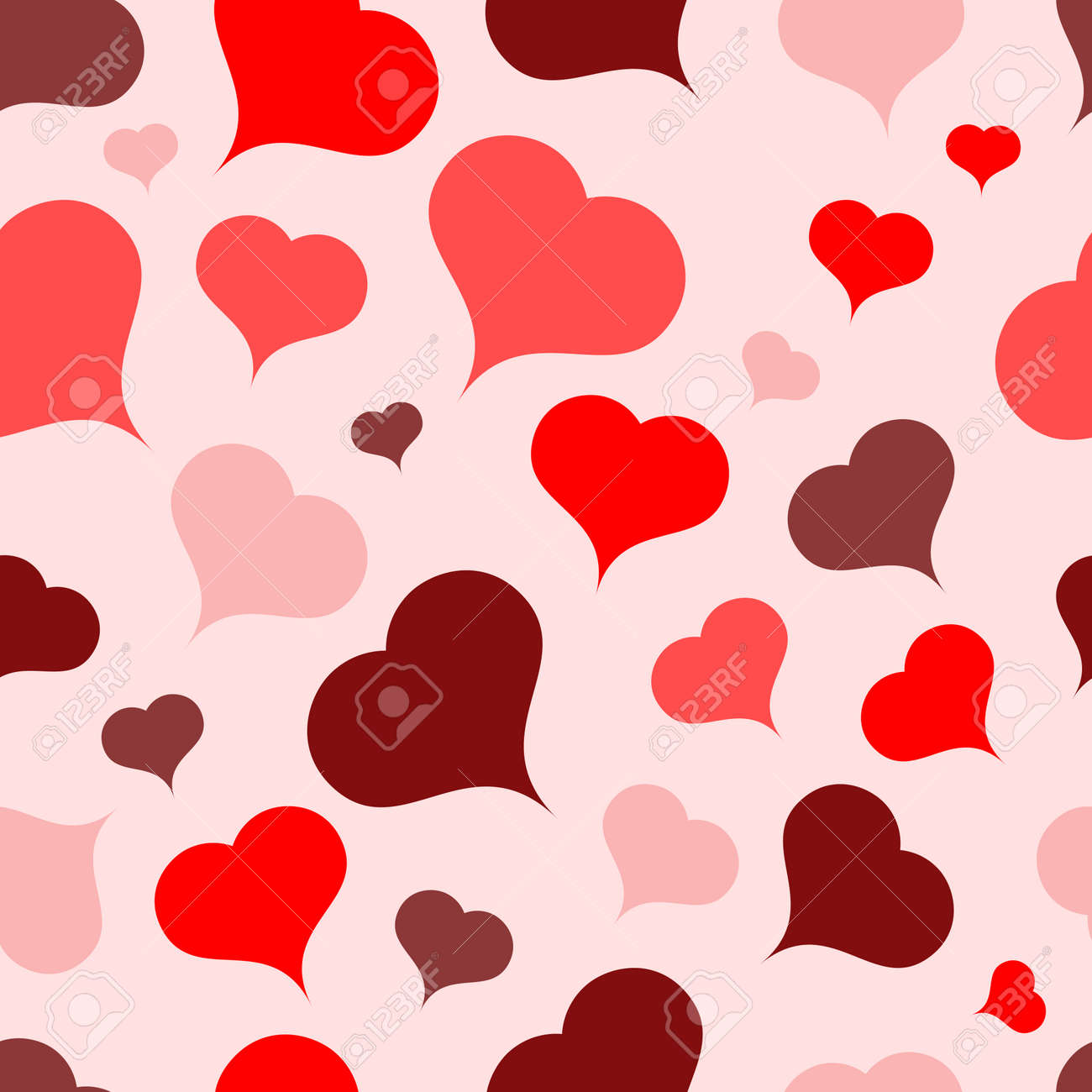 Multi-colored hearts on a light background.Seamless.Vector - 43292029